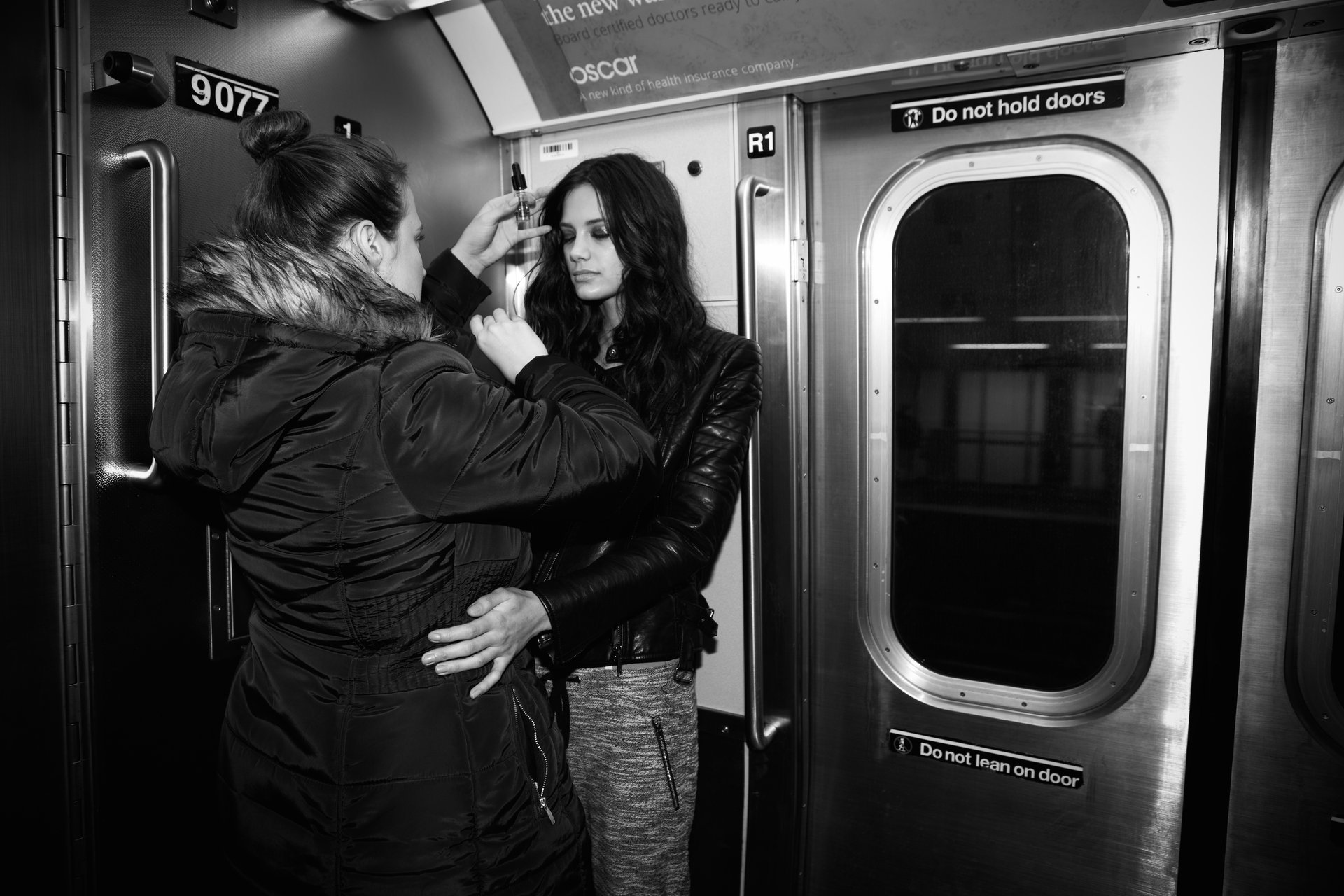 Last touch ups on Anja Leuenberger for a shoot with Thomas Buchwalder in the Subway in New York